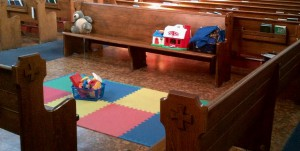 Pews turned round to make a child-friendly space in church