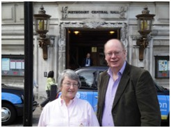Photo: Sue and Bob in front of Methodist Central Hall, London