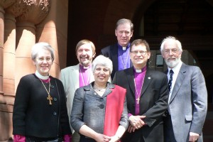 From left to right, Bp. Linda Nicholls, Bp. Graham Cray, the Rev. Jackie Cray, Abp. Fred Hiltz, Bp. Colin Johnson, Dr. John Bowen